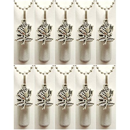 Family Set of TEN ROSE Brushed Silver CREMATION URN NECKLACES with ENGRAVED HEARTS - Includes 10 Velvet Pouches, 10 Ball Chains & Fill Kit