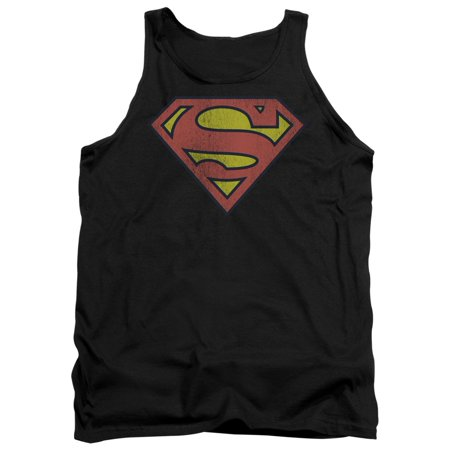 DC Comics Iconic Superman S Traditional Logo Distressed Adult Tank Top Shirt](Supermans City)