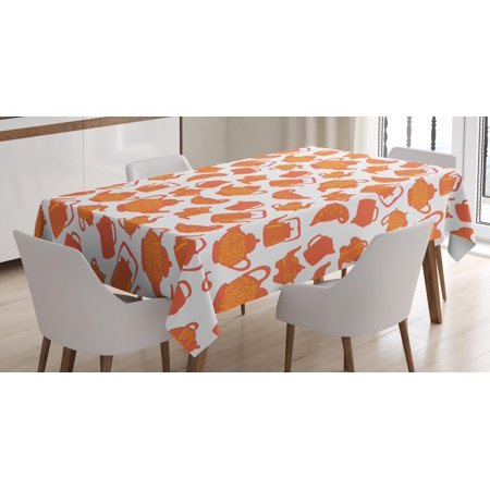 Tea Tablecloth, Old Fashioned Classic Ornament Teapots Ceramic Antique Teatime Beverage Pattern, Rectangular Table Cover for Dining Room Kitchen, 52 X 70 Inches, Orange Rust White, by Ambesonne
