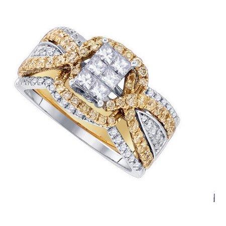Princess Invisible Set Cross (14K White Gold 1.61ct Invisible Set Diamond Princess Criss Cross Bridal Set Ring )