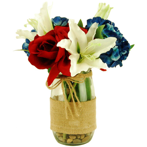LCG Florals Floral Arrangement in Burlap Wrapped Mason Jar with River Rocks and Acrylic Water