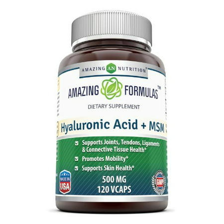 Amazing Formulas Hyaluronic Acid Plus MSM 500 Mg 120 VCaps