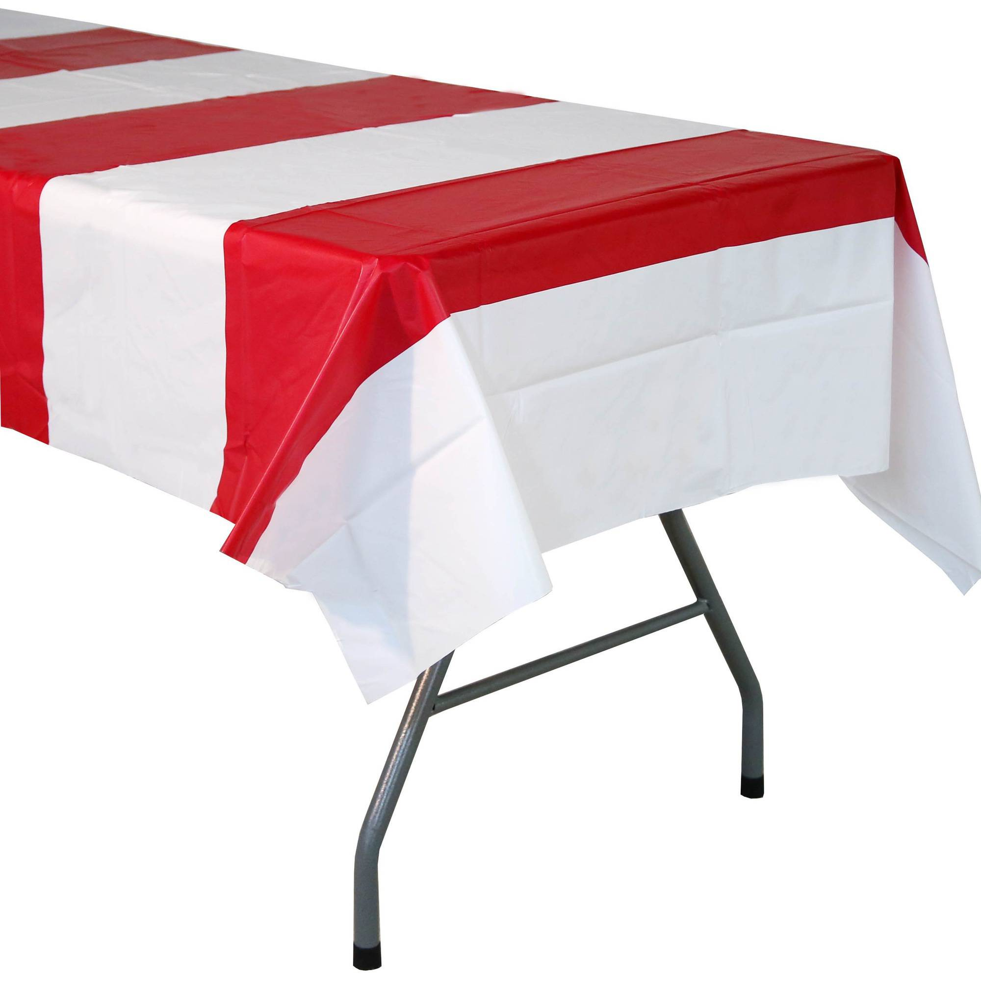 Red and White Striped Tablecover Walmart