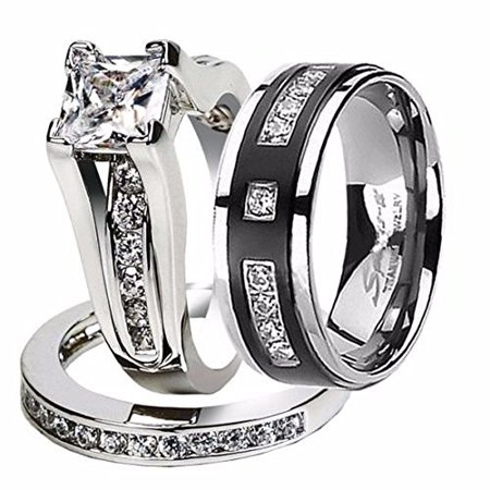 Hers and His Stainless Steel Princess Wedding Ring Set & Titanium Wedding Band Women