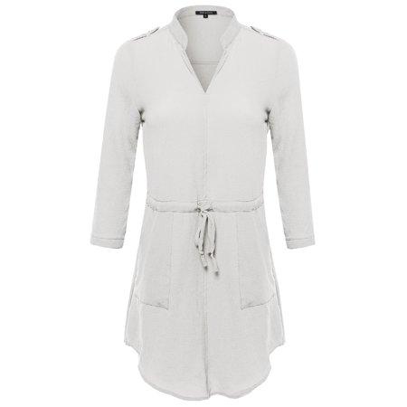 FashionOutfit Women's Simple Chic 3/4 Sleeve V-Neck Blouse Dress w/ Waist Drawstrings (Drawstring Neck Dress)