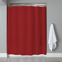 Sweet Home Collection Vinyl Shower Curtain Liner and Chrome Roller Hook Set