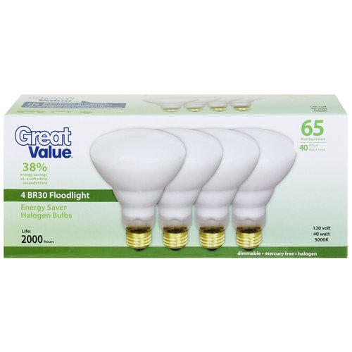 great value 40w halogen br30 flood light bulb white 4pk - Flood Light Bulbs