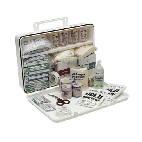 MEDI-FIRST 3JNL3 First Aid Kit, Bulk, White, 25 Pcs, 100 Ppl