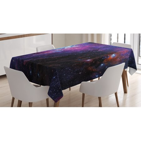 Galaxy Tablecloth, Starry Night Nebula Cloud Celestial Theme Image Space Decorations Art Print, Rectangular Table Cover for Dining Room Kitchen, 52 X 70 Inches, Black Purple Blue, by Ambesonne - Space Decorations
