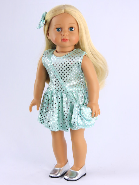 "Aqua Sequin Dress with Matching Accessories Fits 18"" American Girl Dolls, Madame... by"
