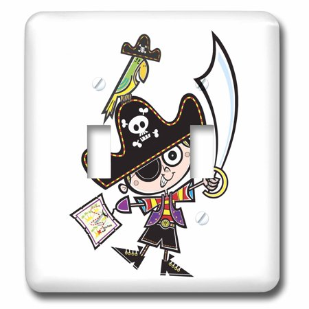 3dRose Cute Little Pirate with Parrot and Treasure Map Double Toggle S