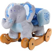 Baby Roc Horse Plush Roc Animal Baby Wooden Rocker Toy for Nursery Ride on Toy for Girl&Boy 1 3 Years 2 in 1 Roc Elephant Blue with Wheel Kid Riding Horse Toys