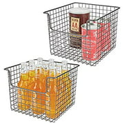 Metal Wire Open Front Organizer Basket for Kitchen Pantry, Cabinet, Shelf - Holds Canned Goods, Baking Supplies, Boxed Food Mixes, Fruits, Vegetables, Snacks - 2 Pack - Bronze