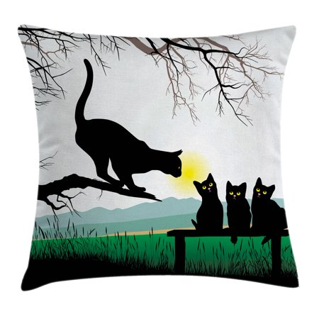 Cat Throw Pillow Cushion Cover, Mother Cat on Tree Branch and Baby Kittens in Park Best Friends I Love My Kitty Graphic, Decorative Square Accent Pillow Case, 16 X 16 Inches, Multi, by (My Best Friends Mom Pics)