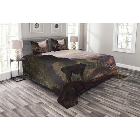 Woodland Bedspread Set, Wolf Coming out of the Woods Gothic Castle Lake Boat off in Distance, Decorative Quilted Coverlet Set with Pillow Shams Included, Brown Army Green Rose, by Ambesonne ()
