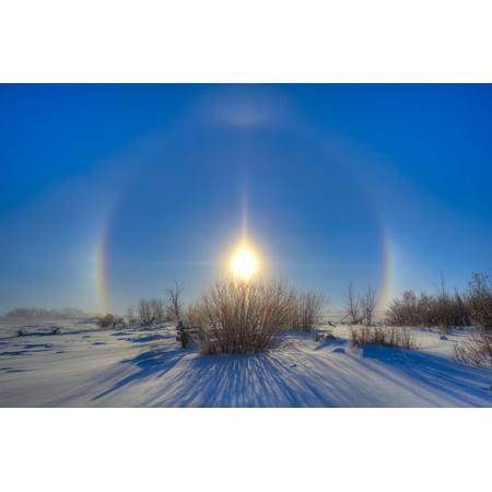 High dynamic range photo of sundogs and a solar halo around the Sun Poster Print (Solar Range)