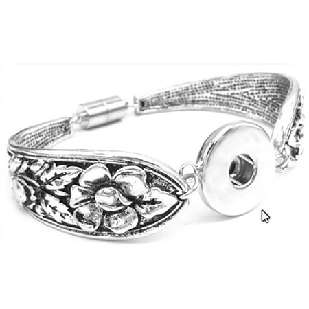 Antique Silver Color Magnetic Clasp Spoon Flower Carved Bracelet Fits Snap Buttons 18mm