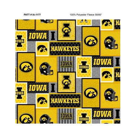 Iowa State College Fleece (University of Iowa Fleece Fabric with College Patch Design-Sold by the yard )