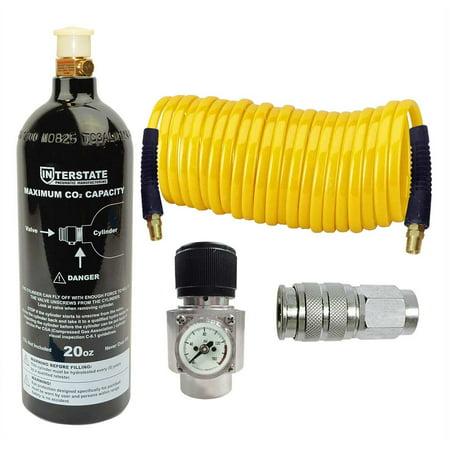 Interstate Pneumatics WRCO2-K2 CO2 Regulator and Paintball tank, Recoil hose and Coupler (Co2 Tanks Regulators)