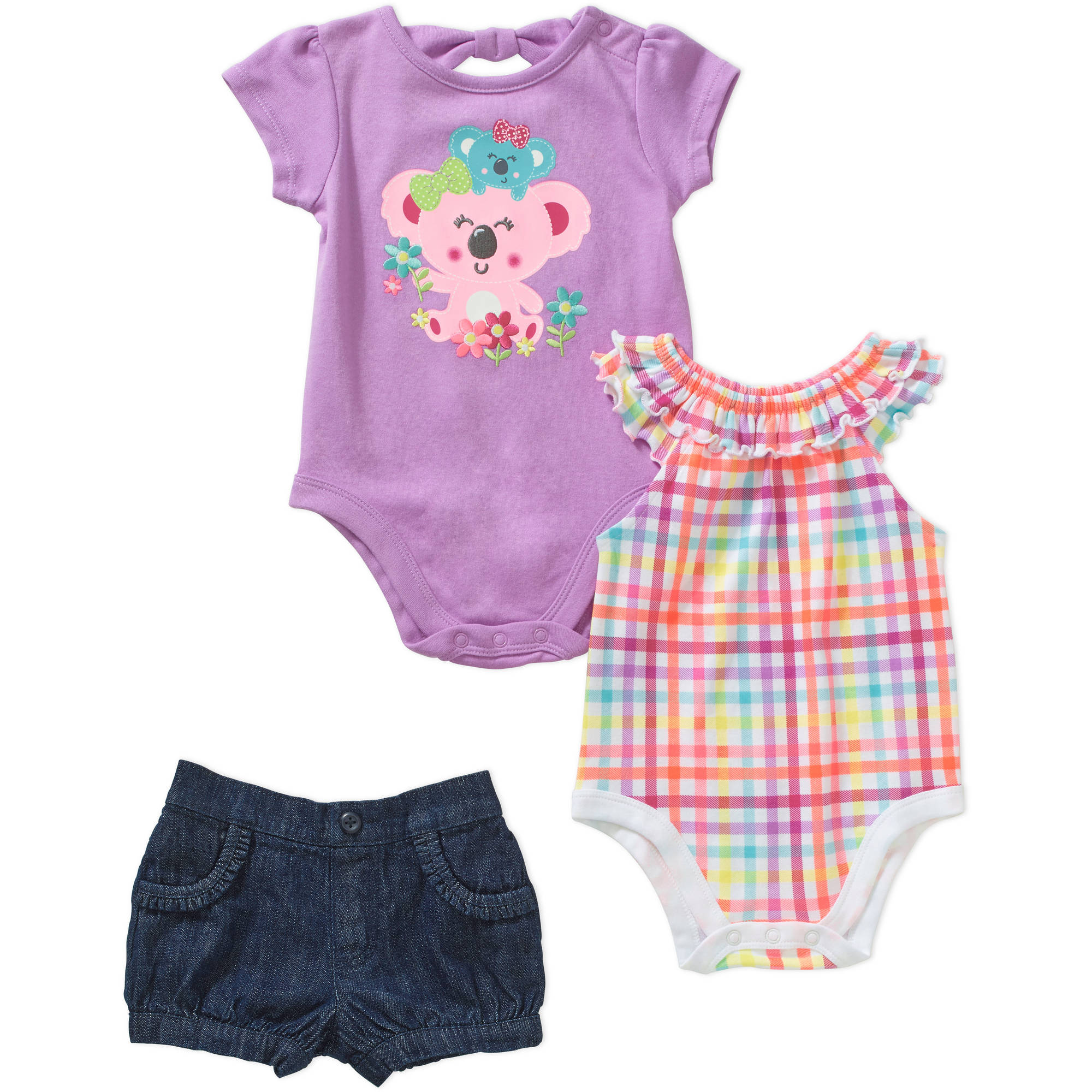 Garanimals Newborn Baby Girl Bow Back Bodysuit/Tee, Print Ruffle Neck Bodysuit and Woven Short Outfit Set