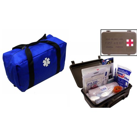 Ultimate Arms Gear Blue Emergency Survival Rescue Bag Kit   First Aid Trauma Kit General Purpose In Waterproof Carrying Storage Case  Usa Made  Fully Stocked 58 Piece Kit