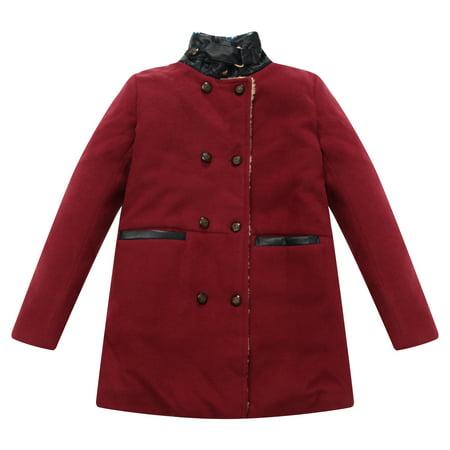 Richie House Little Boys Red Fake Leather Details Padding Jacket 3/4 - Boy Leather Jacket