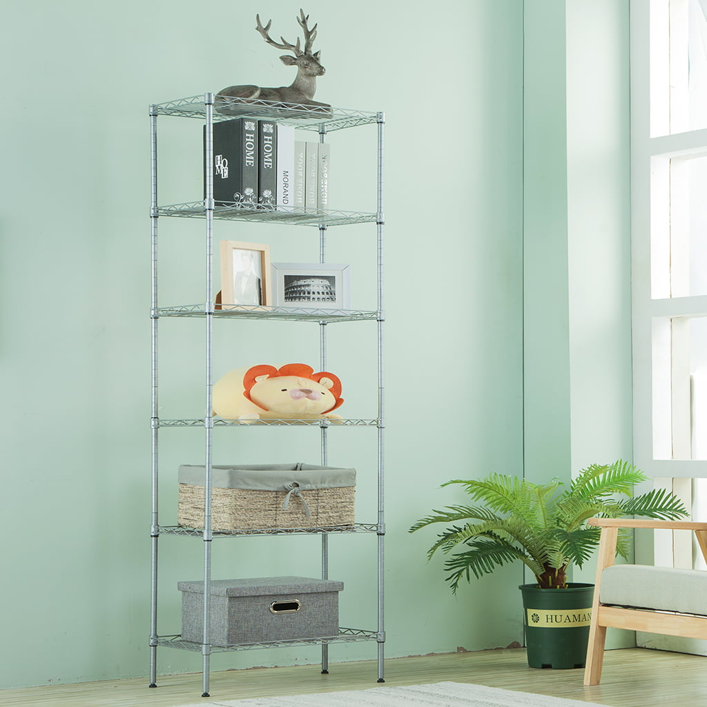 LANGRIA 6 Tier Wire Shelving Unit Organization and Storage Rack with ...