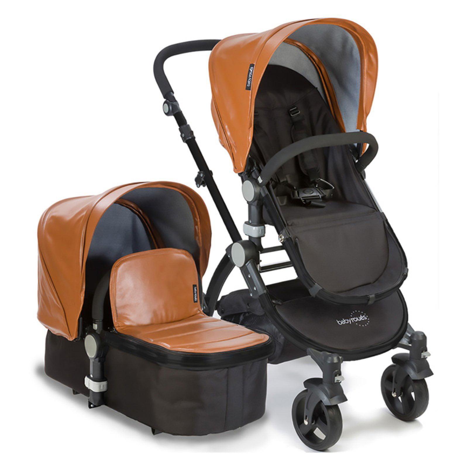 babyroues letour Lux stroller w/basinet black frame camel leathette canopy & footcover
