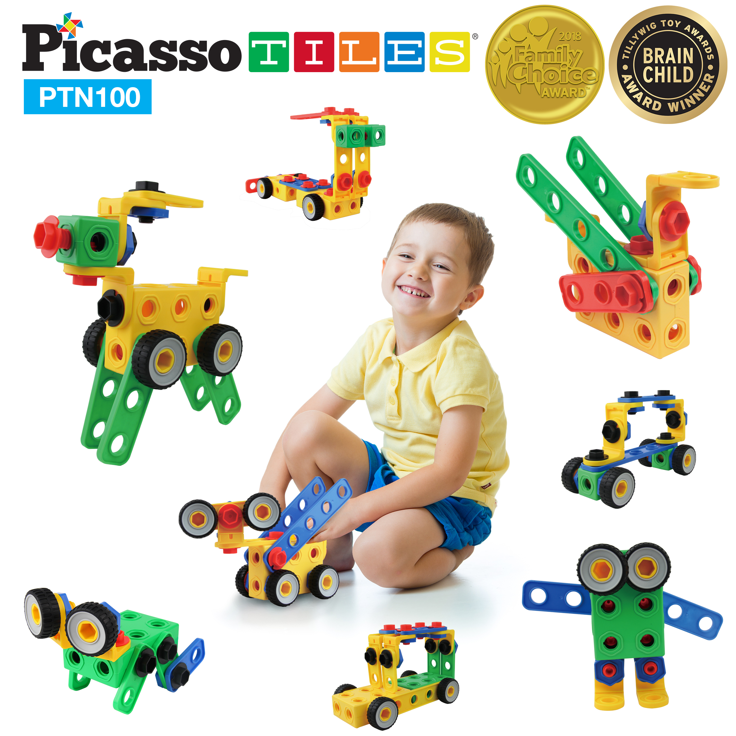PicassoTiles PTN100 100pc Nuts and Bolts Building Block Engineering STEM Set 3D... by PicassoTiles