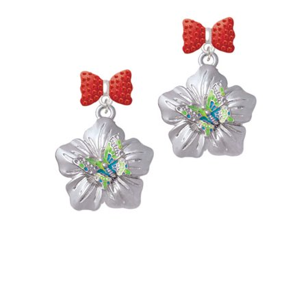 Lime Green   Hot Blue Butterfly On Large Flower Red Bella Bow Crystal Earrings