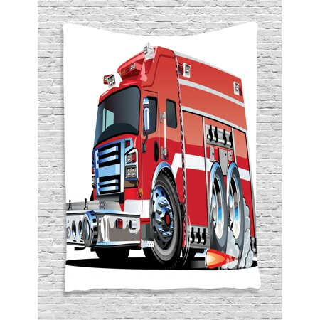Cars Tapestry, Big Fire Truck with Emergency Equipments Universal Safety Rescue Team Engine Cartoon, Wall Hanging for Bedroom Living Room Dorm Decor, Red Silver, by Ambesonne