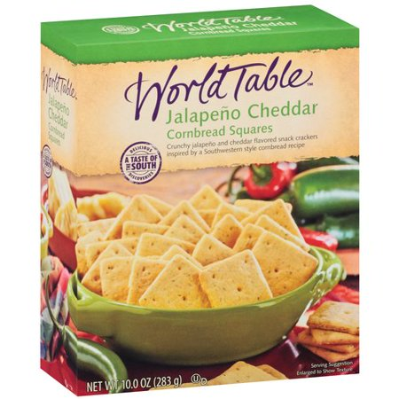 World Table Jalapeno Cheddar Cornbread Squares Snack Crackers, 10 oz ...