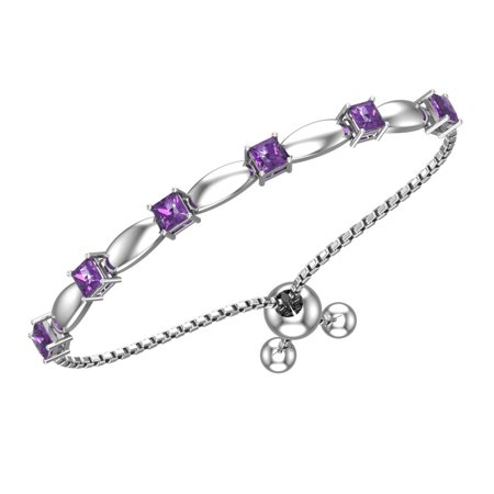 Solid Sterling Silver 4mm Bracelet with Silicon Bead Clasp in Amethyst