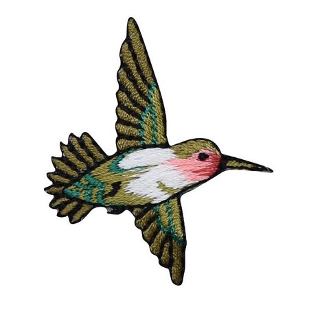 Small - Hummingbird - Ruby Red Throat - Facing RIGHT - Iron on Embroidered Applique Patch (T Birds Patch Grease)