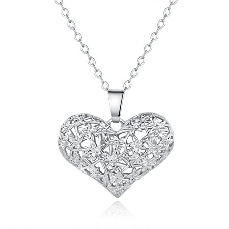 18k White Gold Filigree Mesh Heart Pendant Necklace Satin Mesh Necklace