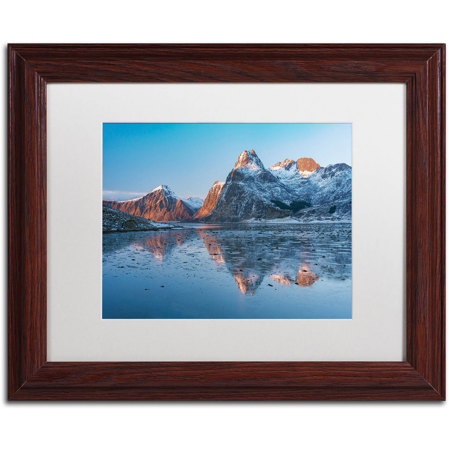"Trademark Fine Art ""Sunset Peaks"" Canvas Art by Michael Blanchette Photography White Matte, Wood Frame"