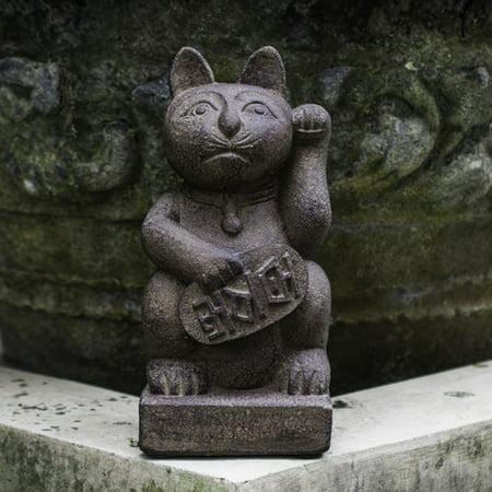 My Spirit Garden Volcanic Ash Maneki Neko Lucky Cat Statue - Walmart.com