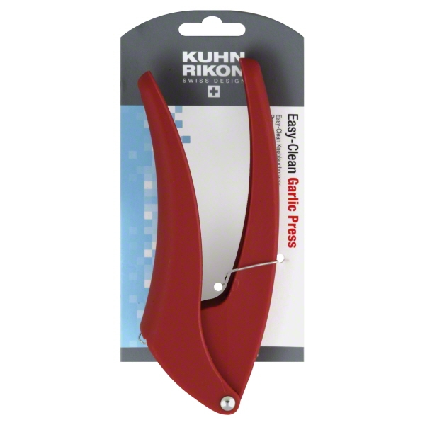 Kuhn Rikon Easy-Clean Garlic Press, 7-Inch, Red