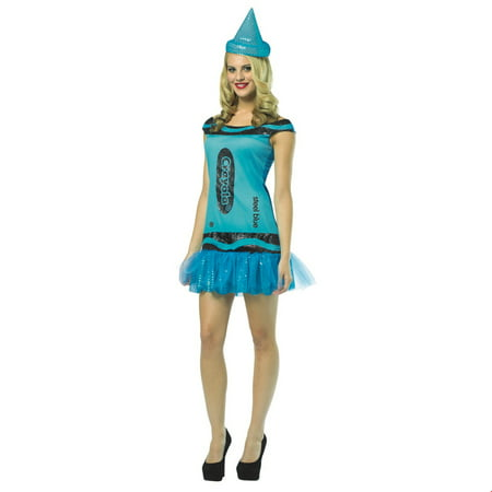 Crayola Steel Blue Glitz & Glitter Dress Adult Halloween Costume](Glitter Graphics Halloween)