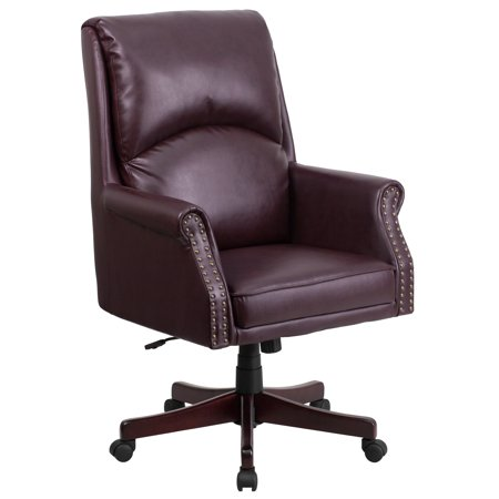 - A Line Furniture Executive High Back Burgundy  Leather Adjustable Swivel Office Chair With Plush Headrest