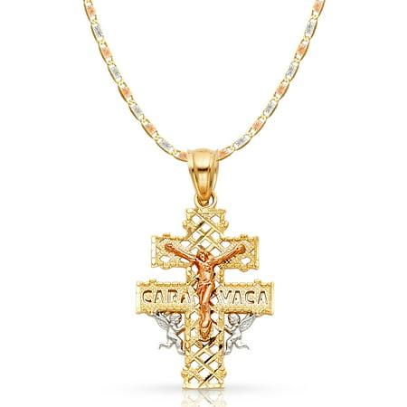 14K Tri Color Gold Jesus Crucifix Cross of Caravaca Pendant with 2.1mm Valentino Chain Chain Necklace