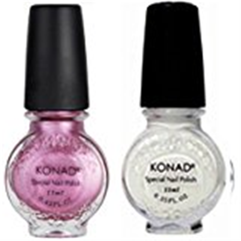 Bundle - 3 Items: Konad Stamping Nail Art Special 2 Polishes White, Vivd Pink + Nail Buffer