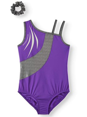 Danskin Now Purple Asymmetrical Leotard with Piecing and Silver Decorative Inset, (Little Girls & Big Girls)