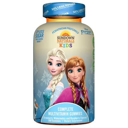 Sundown Naturals Kids Disney Frozen Complete Multivitamin Gummies, Strawberry Watermelon Raspberry, 200 Ct