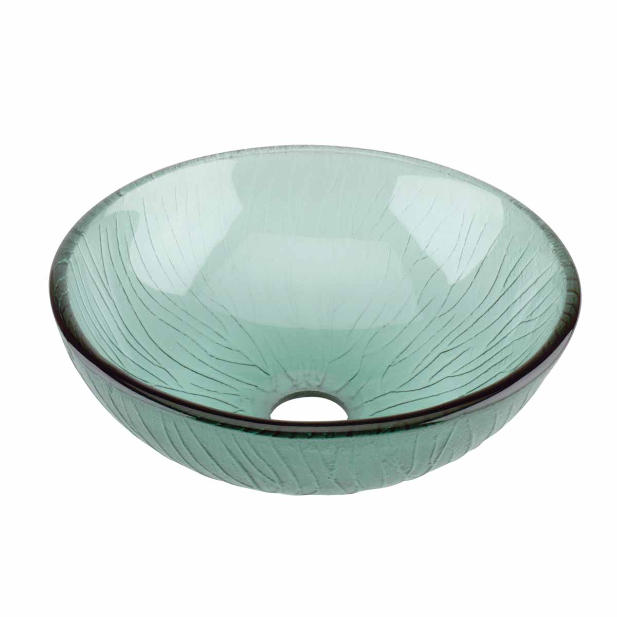 Renovator's Supply Frosted Green Tempered Glass Mini Bowl Vessel Sink with Drain