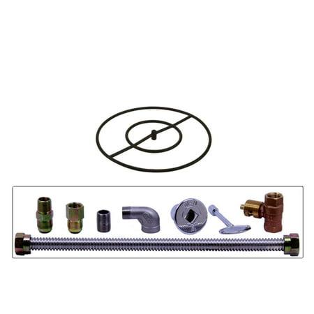 "Spotix HPC Round Fire Pit Burner Kit, 24"", Match Light, Steel, Natural Gas"
