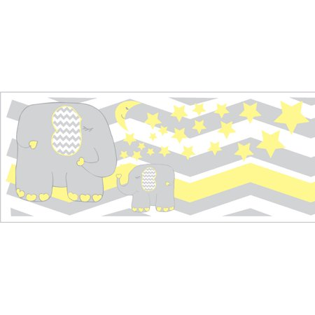 Yellow Elephant Border Wall Decals / Jungle Safari Themed Chevron Border with Yellow Moon and Stars Nursery Decor - Safari Theme Decor