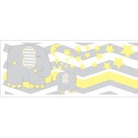 Yellow Elephant Border Wall Decals / Jungle Safari Themed Chevron Border with Yellow Moon and Stars Nursery Decor