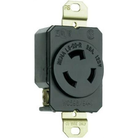 Pass & Seymour L520RCCV3 Locking Outlet, Black, NEMA L5-20r, 125-Volt