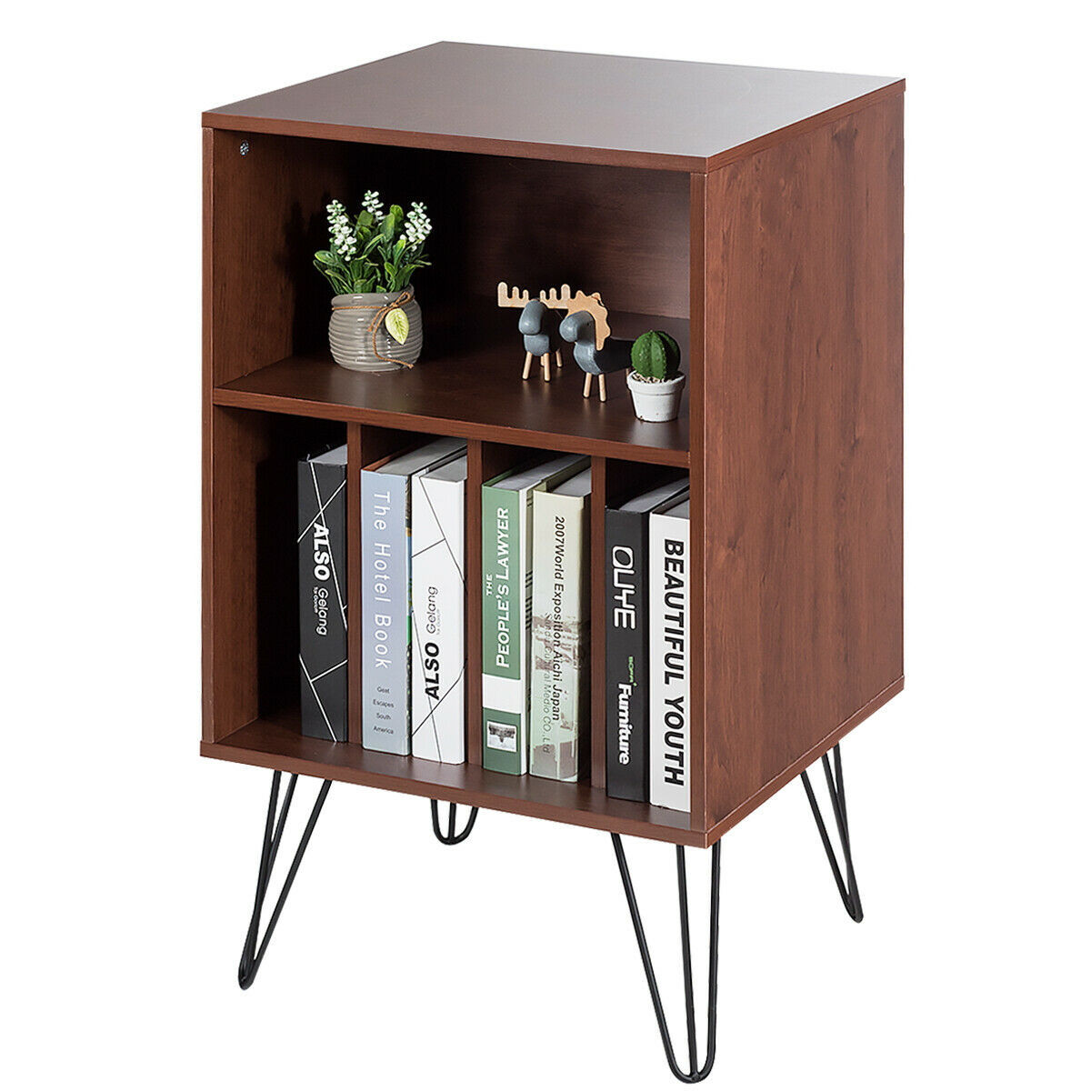 Compact Wooden File Cabinet with Open Storage for Stacking Books Boxes Artworks Tall Standing Display Durable Metal Legs Suitable for Bedroom Living Room Study Home Office Use Space Saving Furniture